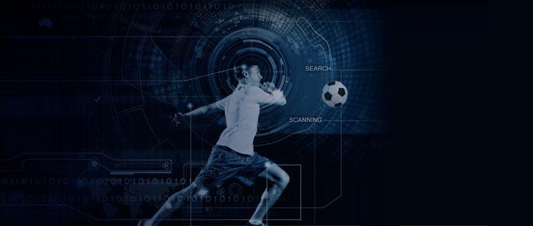 jogador de futebol com tecnologia